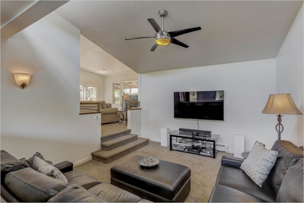 The home's media room is another great place to unwind.