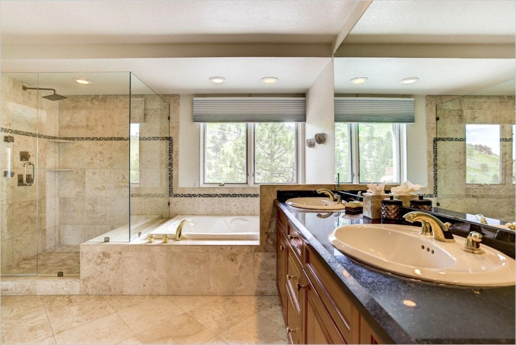 The remodeled master bath of 5339 Olde Stage Road.
